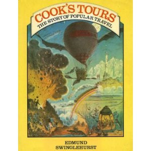 The front cover of the book is colourful and shows a volcano on one side and a hot air balloon in the centre.