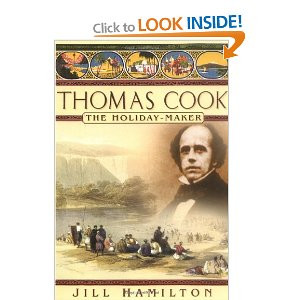 This shows an image of Thomas Cook with a Victorian beach holiday scene behind.