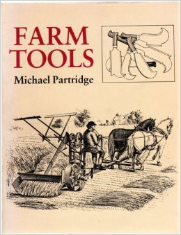 book cover with line drawing of farmer and tools