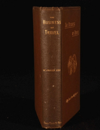 An image of the original leather bound book cover for The Business of Travel